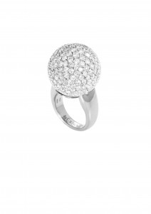 Boule ring in white gold with diamonds